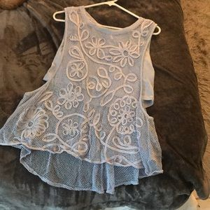 Free people periwinkle crop tank with mesh overlay